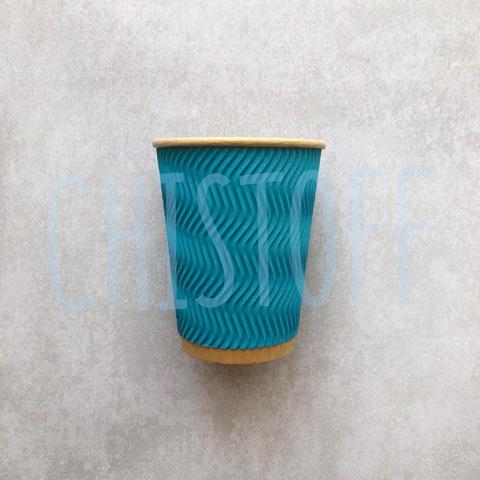 Гофрированный стакан Ripple Wave Eco Craft  250 мл голубой d82 (30 шт.)