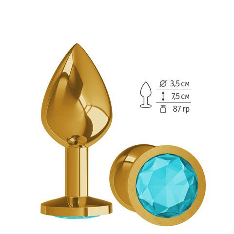 Анальная втулка Gold с голубым кристаллом средняя