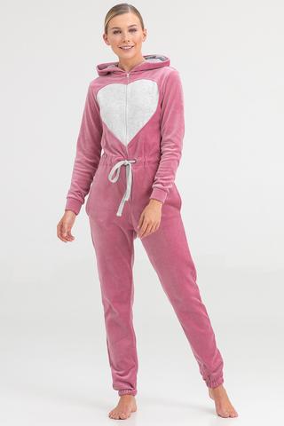 Пижама-комбинезон женская велюровая розовая