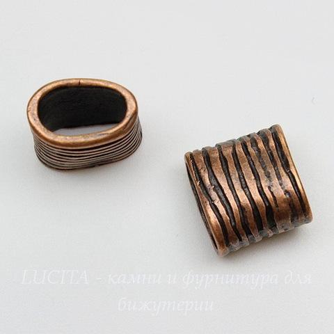 """Бусина для шнура 11х5 мм """"Полосатая"""" (цвет - античная медь) 14х13х9 мм"""