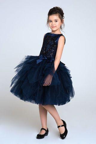 Пышное темно-синее платье (арт.304 черника)