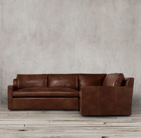 Belgian Track Arm Leather Customizable Sectional