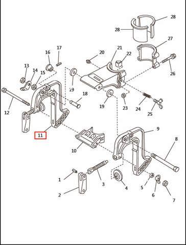 Скоба струбцины правая  для лодочного мотора T2,5 SEA-PRO (6-11)