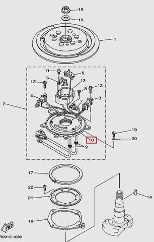 Основание магнето для лодочного мотора Т30 Sea-PRO (8-10)