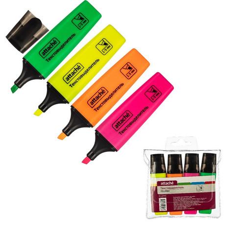 Маркер выделитель текста Attache Colored 1-5мм набор 4цв.