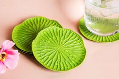 Подставки под бокалы 2 шт Lotus зеленый Qualy