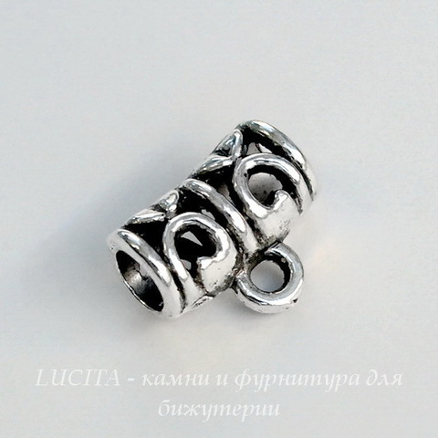 Бейл ажурный 12х9 мм (цвет - античное серебро)