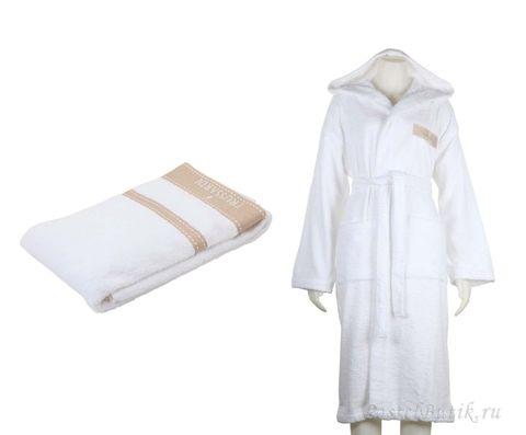 Набор полотенец 3 шт Trussardi Golf и халаты XL белый