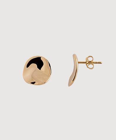 Серебряные круглые серьги-пусеты с золотым покрытием