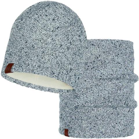 Комплект шарф-шапка вязаный с флисом Buff Arne Cru