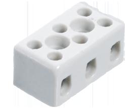 Высокотемпературная керамическая клемма 3 х 2,5 мм², с крепежным отверстием