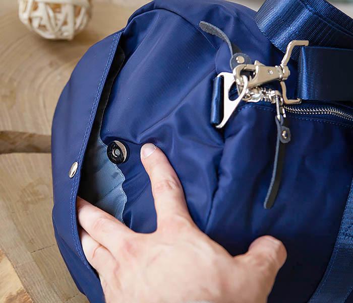 BAG481-4 Сумка из ткани синего цвета с ремнем на плечо фото 05