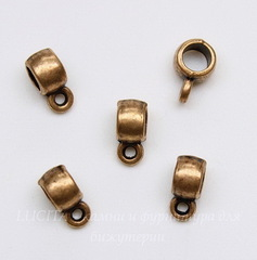 Бейл гладкий (цвет - античная медь) 9х4 мм, 5 штук
