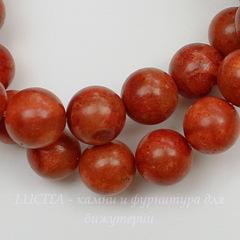 Бусина Коралл (искусств), шарик, цвет - красно-коричневый, 10 мм, нить