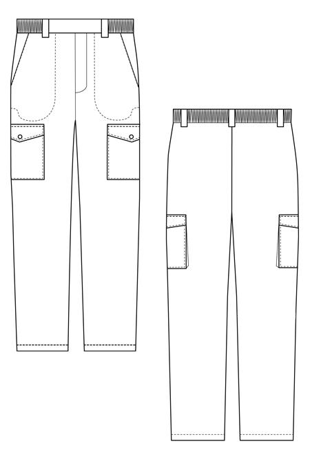 Выкройка костюма для ОРТ с капюшоном технический рисунок брюки