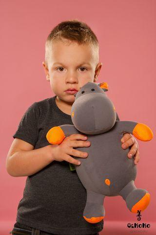 Подушка-игрушка «Бегемот малыш Няша», оранжевый-2