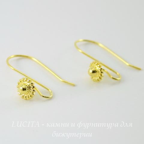 Швензы - крючки с цветком, 22х16 мм (цвет - золото), пара