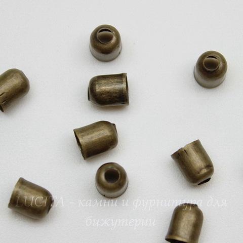 Концевик для шнура 3,5 мм (цвет - античная бронза) 5х4 мм, 10 штук