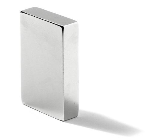 Магнит 12х8х5 мм, N38, никель, неодимовый блок