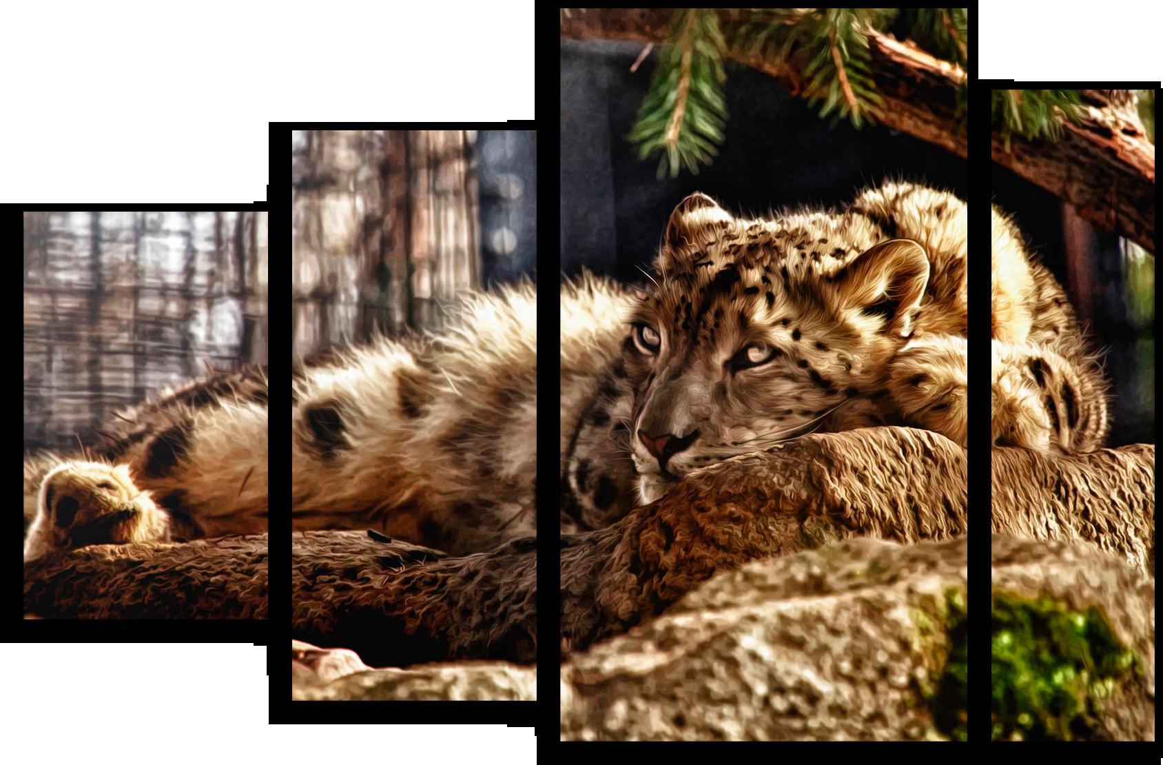 """Животные Модульная картина """"Спокойный леопард"""" М350.png"""