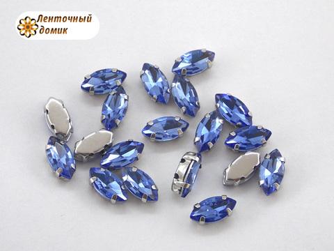 Камень маркиза в цапах  5*10 мм светло-синий