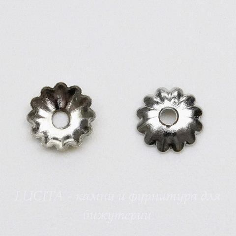 Шапочка для бусины текстурная (цвет - платина) 5 мм, 20 штук
