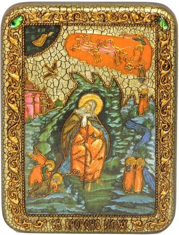 Инкрустированная рукописная икона Пророк Илия Фесфитянин 20х15см на натуральном дереве в подарочной коробке
