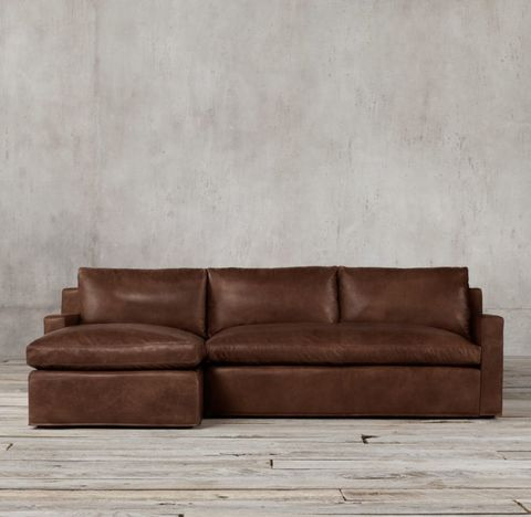Belgian Track Arm Leather Left-Arm Sofa Chaise Sectional