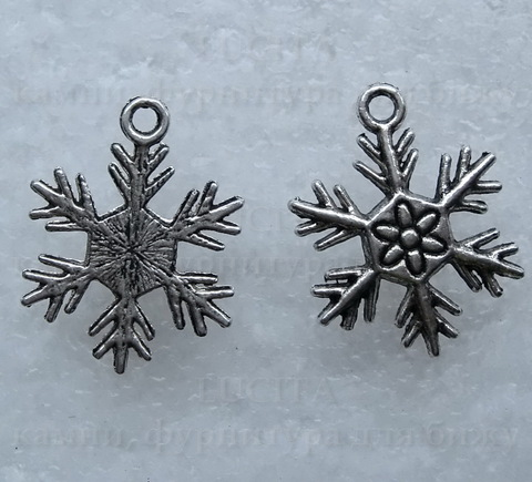 "Подвеска  ""Снежинка"" (цвет - античное серебро) 25х19 мм ()"