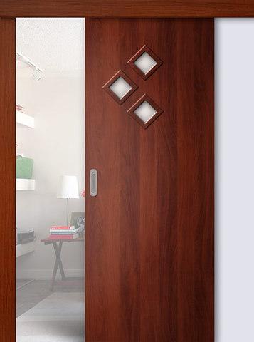 Дверь раздвижная Сибирь Профиль Стрела, цвет итальянский орех, остекленная