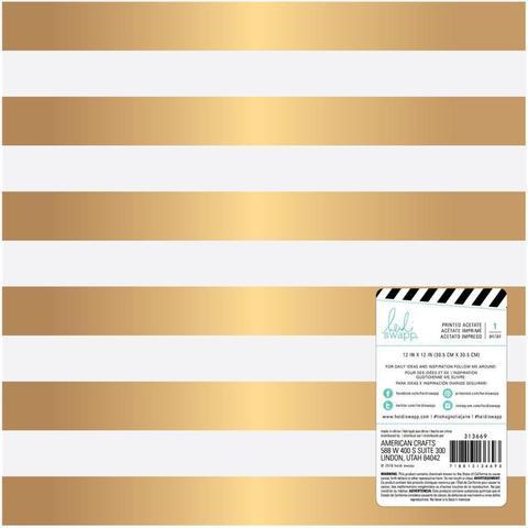Калька -Heidi Swapp Magnolia Jane Foiled Vellum -Gold Stripe 30х30 см