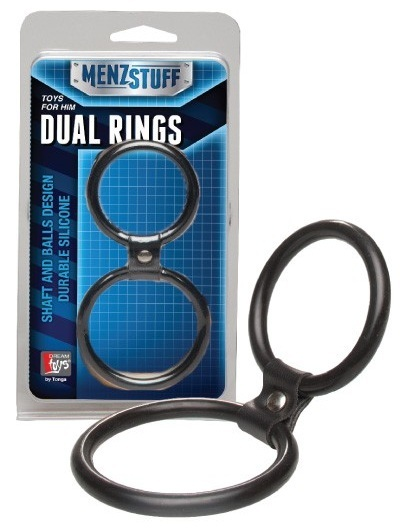 Эрекционные кольца: Чёрное двойное эрекционное кольцо Dual Rings Black