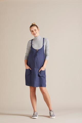 Сарафан для беременных 09799 темно-голубой