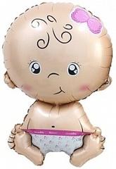 Шар с клапаном (16''/41 см) Мини-фигура, Малышка девочка, Розовый, 5 шт.