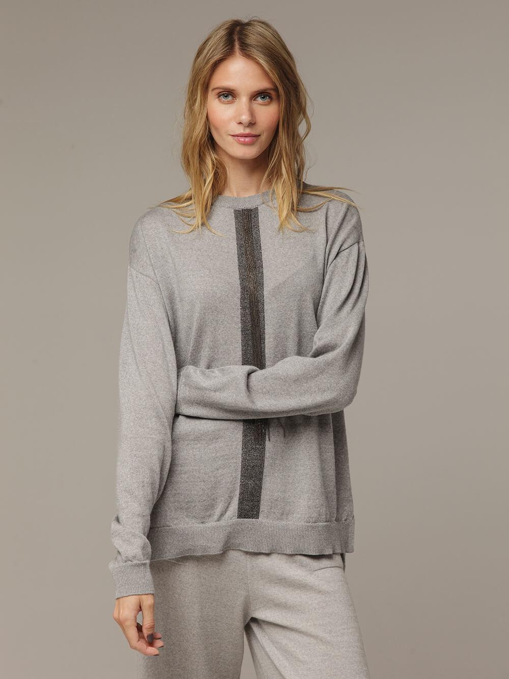 Женский серый шерстяной джемпер