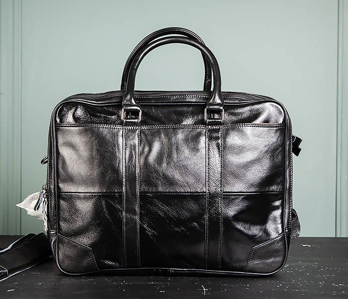 BAG491-1 Мужской кожаный деловой портфель черного цвета фото 01