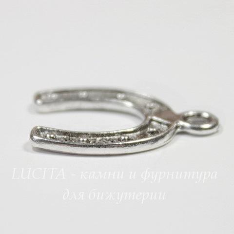 "Подвеска ""Подкова"" 23х18 мм (цвет - античное серебро)"