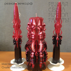 Семейный очаг Фламенко  -  малый набор свадебных резных свечей
