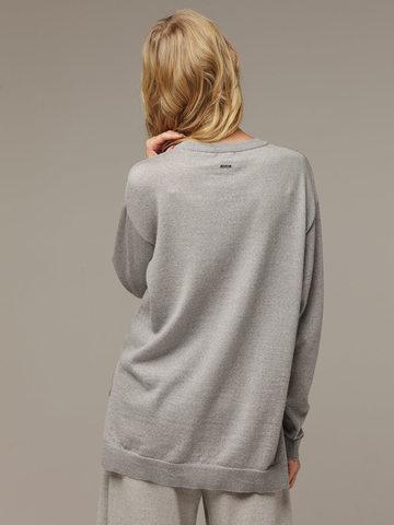 Женский серый шерстяной джемпер - фото 3