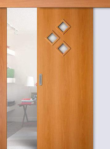 Дверь раздвижная Сибирь Профиль Стрела, цвет миланский орех, остекленная