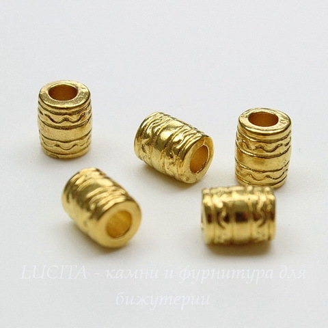Бусина металлическая трубочка с узором (цвет - золото) 7х5,5 мм, 5 штук