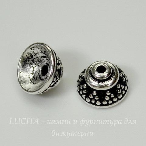 "Шапочка для бусины TierraCast ""Бали"" (цвет-античное серебро) 8х5 мм"