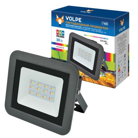 ULF-Q511 30W/RGB IP65 220-240В BLACK Прожектор светодиодный. Мультиколор. Корпус черный. TM Volpe.