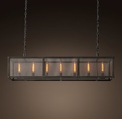 Riveted Mesh Rectangular Chandelier 60