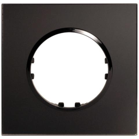 Рамка на 1 пост квадрат из натурального стекла. Цвет Тёмное стекло. LK Studio Vintage (ЛК Студио Винтаж). 884110-1
