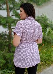 Нета. Стильная блуза для больших размеров. Ромб персик.