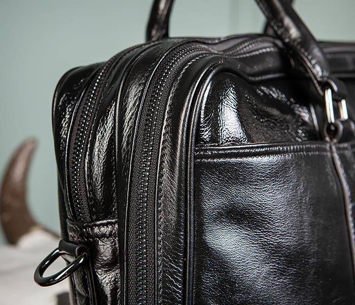 BAG491-1 Мужской кожаный деловой портфель черного цвета фото 05