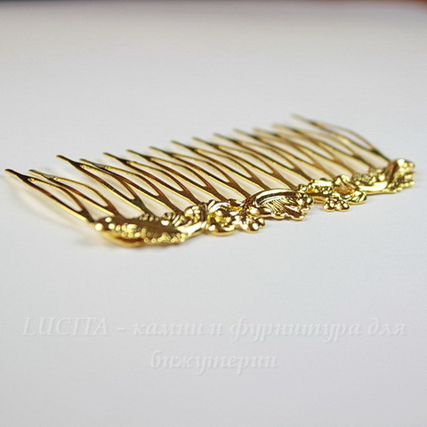 """Гребень, основа для заколки """"Винтаж"""", 75х44 мм (цвет - золото)"""