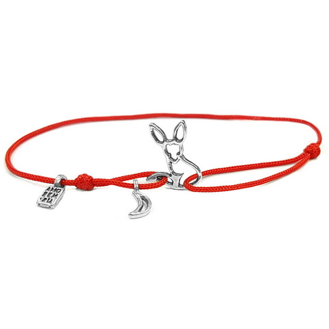 Fox Bracelet, The Little Prince Fox, Le Petit Prince Cord Bracelet, Sterling Silver