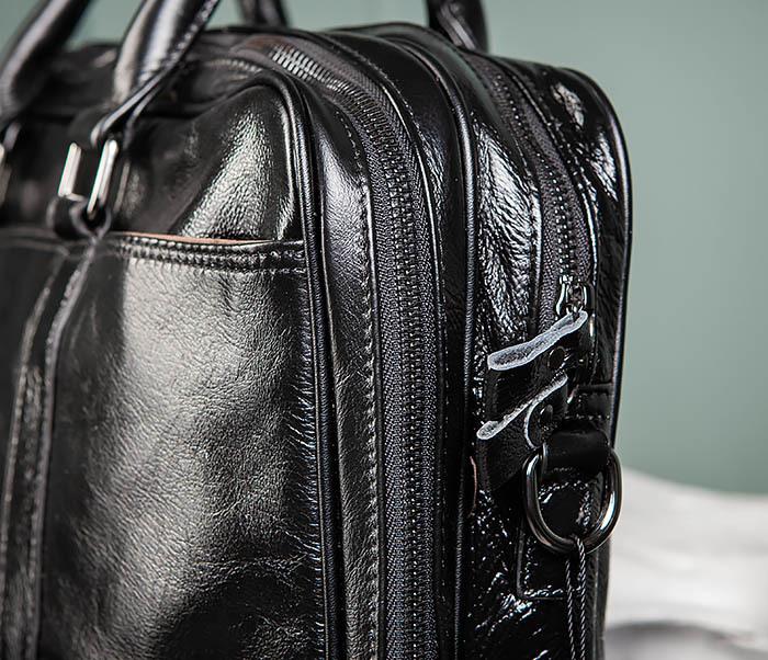 BAG491-1 Мужской кожаный деловой портфель черного цвета фото 07